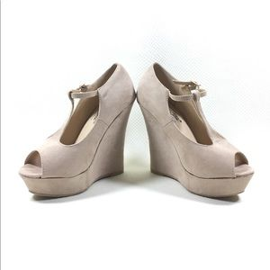 DbDk Beige Peep Toe Ankle T Strap Wedge Heels US 7